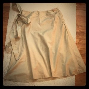 Beige summer A-line skirt with attached sash tie